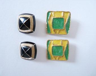 2 pairs of earrings/vintage enamel clip earrings