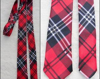 "Vtg mans shiny silky tartan plaid tie red black tartan thin retro mans neck tie 58"" long 2"" wide"