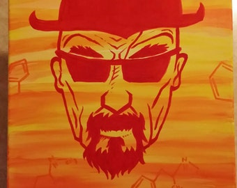 Heisenberg Acrylic Painting Red and Orange