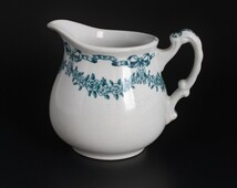 Losol Ware Creamer, Selkirk Pattern, Keeling and Co, Burslem England, Blue White Pitcher