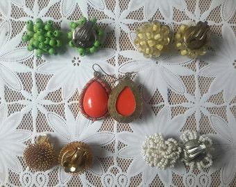 Earrings, clip on earrings, 70s earrings, 70s jewelry, chuck earrings, funky jewelry, Christmas gift, funky earrings, Shabby chic jewelry