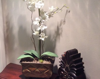 Two Faux Orchids in a Metal Container, White Orchids