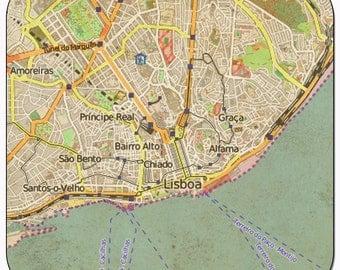 Lisbon 1 Vintage Map Coasters