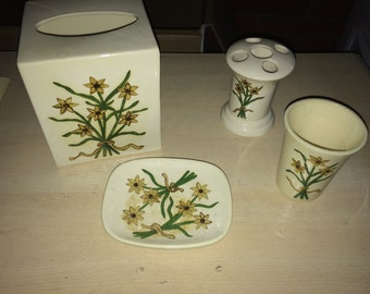 Vintage bath sunflower set