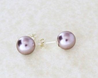 Lilac Pearl Stud Earrings, Pearl Earrings, Silver Earrings, Bridal Earrings, Sterling Silver Earrings
