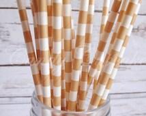 PEACH WHITE SAILOR 25 Paper Straws, Wedding, Party, Birthday Straws, Cake Pop Straws