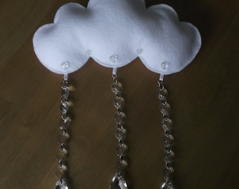 Felt Cloud and crystal baby mobile