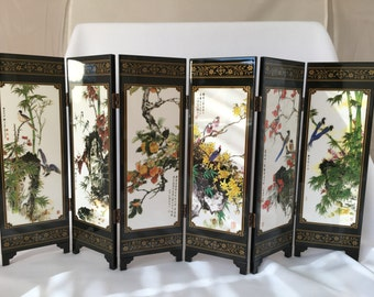 Feng shui tabletop art with birds and flowers