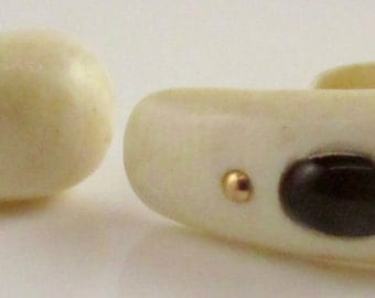 c1940 Ivory, Onyx and Gold Earrings