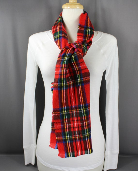 Knitting Pattern Tartan Scarf : Red tartan plaid pattern scarf flat knit wool touch feel scarf
