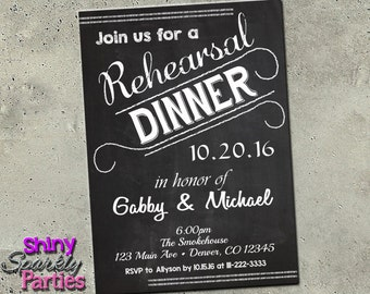 "REHEARSAL DINNER INVITATION - Wedding Rehearsal  ""Rehearsal Dinner"" Invites - Chalkboard Dinner Invite  Dinner Party Engagement Party Rustic"