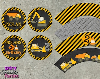 CONSTRUCTION CUPCAKE TOPPERS and Cupcake Wrappers - Construction Party - Construction Birthday - Construction Party Decor - Dump Truck