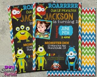 """MONSTER BIRTHDAY INVITATION - """"Little Monster Invitation"""" - Monster Chalkboard Invite - Little Monster Invite - First Birthday Invitation"""