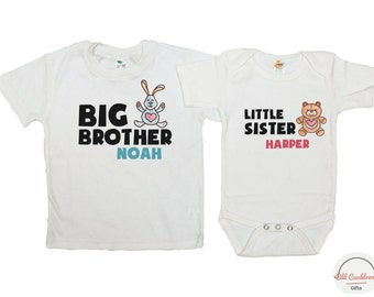 Brother sister shirt, Big brother little sister shirts, matching shirts for brother and sister, brother and sister set of shirts, kids shirt