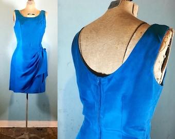 Vintage Wrap Dress - Sapphire Blue - Silk Wrap Dress - Womens Size 7/8