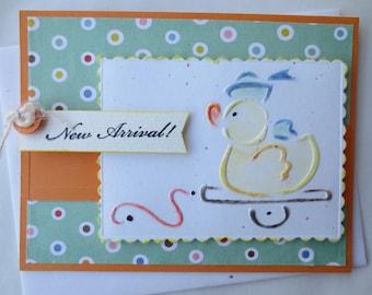 Card- Handmade Baby Greeting card-  New Baby Card- Baby Shower Card-  Congratulations Card- 3D card- Blank Card