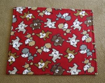 Fleece Pet Blanket, Small,Little Doggies on Red