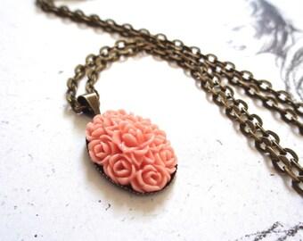 Bronze, bronze tone pendant necklace ornate resin cabochon dusky pink filigree