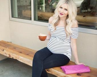 Striped Bardot Maternity Shirt, maternity shirt, maternity, maternity top, pregnancy top, pregnancy shirt, bardot pregnancy