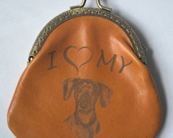 Dog lover coin purse. Authentic leather. Leather purse