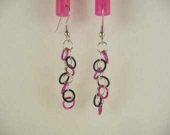 SALE hot pink & black earrings