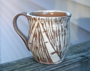 Handmade Ceramic Brown White Birch Tree Mug