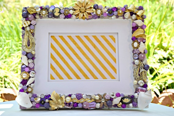 8in x 10in Elegant Purple and Gold Hand-Decorated Frame with Vintage Jewelry