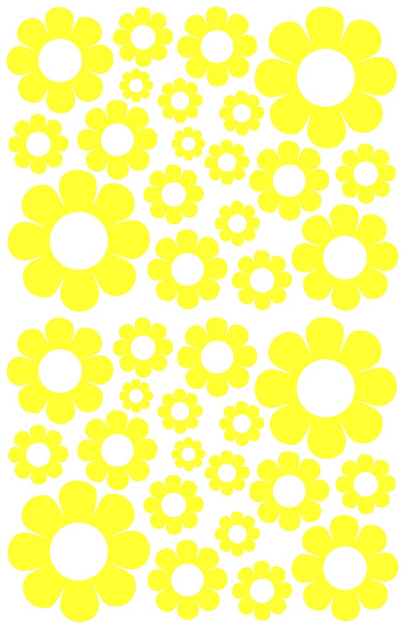 38 Yellow Daisy Vinyl Shaped Bedroom Wall Decals Stickers Daisies Teen Kids Baby Nursery Dorm Room Removable Custom Made Easy to Install