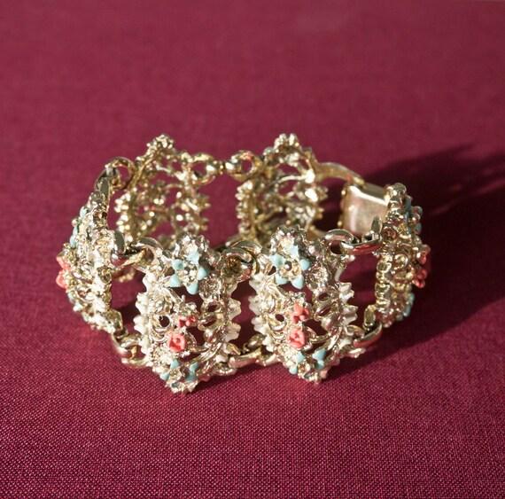 Vintage Gold Tone Enamel Link Bracelet with Floral Details