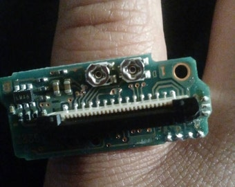 Upcycled techie computer board adjustable ring