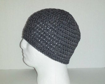 Men's Crochet Beanie, Men's Crochet Hat Heather Gray, Youth Boys Crochet Beanie Heather Gray, Crochet Men's Beanie, Men's Winter Hat