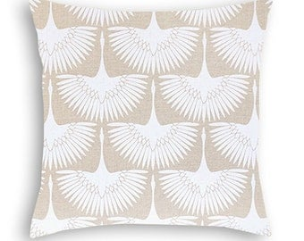 Neutral decorative pillow covers, Tan Throw Pillow Covers, Print design of flamingos in flight in Oyster White against a Wheat background.