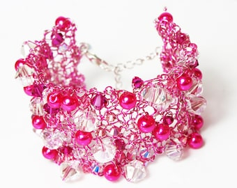 Pink Crystal wire bracelet cuff, knitted wire bracelet, sparkling fushia pnk pearl and crystal cuff