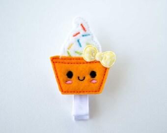SALE frozen yogurt froyo felt embroidered hair clip neon orange