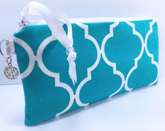 Teal WET BAG, Makeup Bag, for Reusable Feminine Pads, Quatrefoil Print Cosmetic Pouch, Pencil Case, Waterproof Babyville PUL Diaper Bag