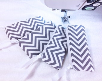Bridesmaid Gift, Set of 4 Lipstick Cases, Modern Gray & White Chevron Print, Small Zippered Pouch, Earphones, Coins