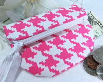 HOT PINK Houndtooth Check Coin Purse, Secure Zipped Closure, Woman's Small Wallet, Magnetic Snap, Fold Over Change Purse, Small Zipper Pouch