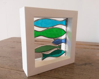 """Beautiful Small Framed Stained Glass Shoal of Green & Blue """"Sprats"""" Fish"""