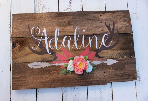 Rustic large nursery name arrow and antlers personalized for Signs for little girl rooms