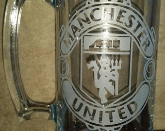 Manchester United Sand Carved Glass Mug