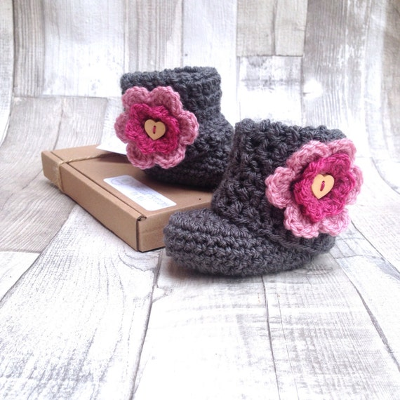 booties, crochet shoes, crocheted shoes, grey charcoal, pink booties, photo prop, newborn, baby shower gift, infant shoes, uggs
