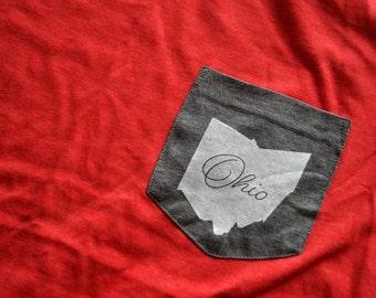 ohio state || ohio state pocket tee || pocket tee || columbus ohio || athens ohio || ohio state buckeyes || ohio university bobcats