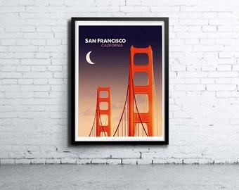 San Francisco Golden Gate Night Illustration Print, Poster, Art, Wall Art, Typography