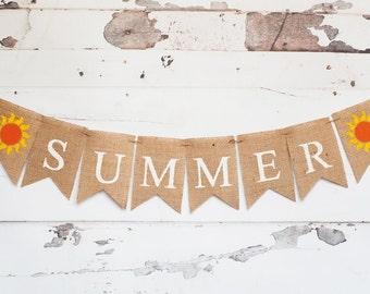 Summer Banner, Summer Decor, Summer Burlap Banner, Summer Sign, Summer Party Banner, B250