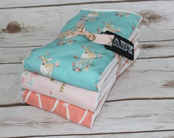 Modern Baby Burp Cloth~Set of 3~Teal/Coral Fawn~Baby Shower Gift