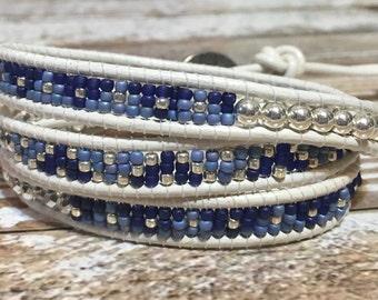 White Chan Luu Style Wrap Bracelet / Healing Crystal Bracelet / Chan Luu Bracelet / Chakra Bracelet