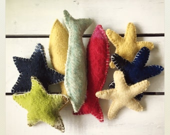 Wool, star fish and sea stars made of vintage Wool blankets.