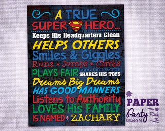"""8"""" x 10"""" Personalized Super Hero Birthday Sign, Super Hero Table Decoration, Digital Super Hero Sign, Super Hero Party Decoration"""