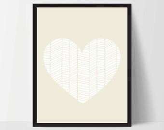 Wall Art, Geometric Heart, Unframed, Artwork, Home Decor, Modern Contemporary, Print Art, Boho, Nursery, Baby, Yellow, 12x16 Inches