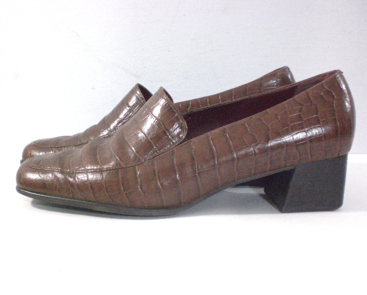 90s Croc Look Loafers Brown Loafer Shoes Womens By TheLavishOwl